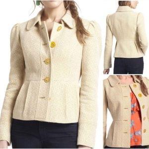 Anthropologie Tabitha Yellow Flecked Tweed Jacket